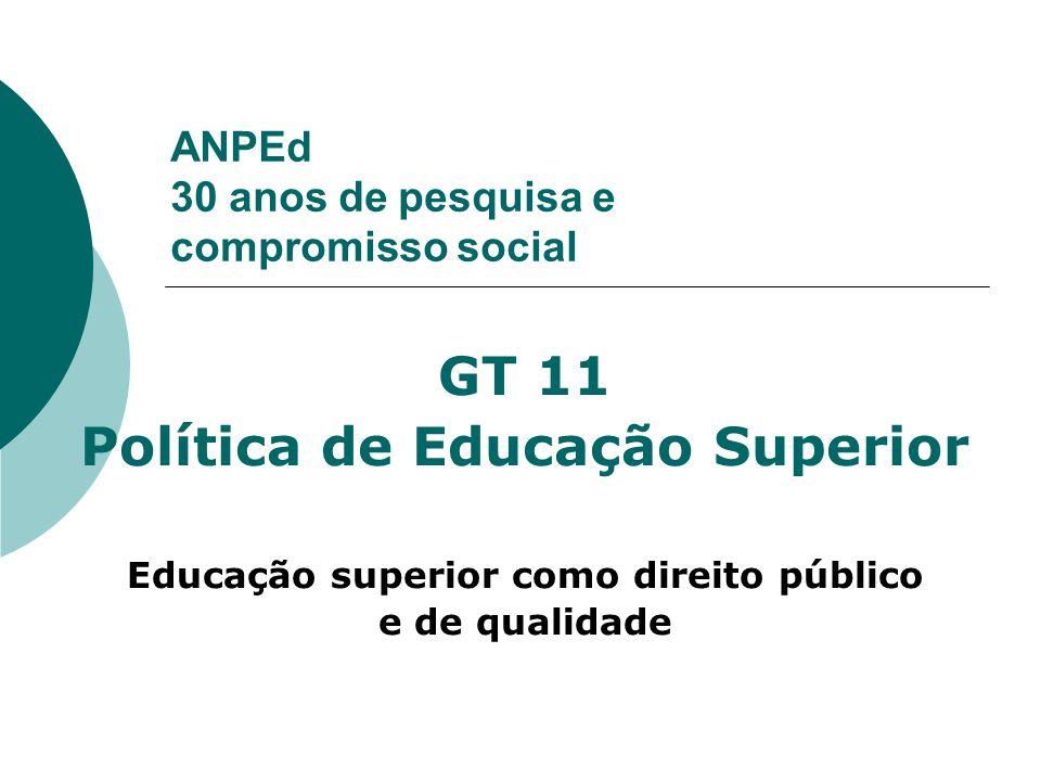 ANPEd 30 anos de pesquisa e compromisso social GT 11 Política de Educação Superior Educação superior como direito público e de qualidade