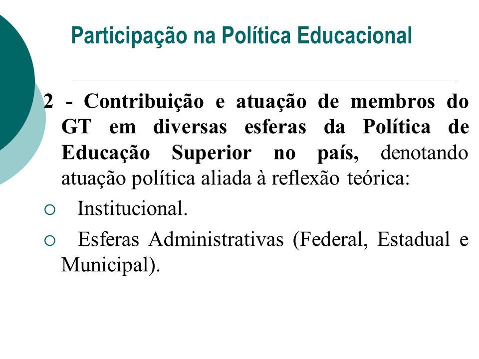 2 - Contribuição e atuação de membros do GT em diversas esferas da Política de Educação Superior no país, denotando atuação política aliada à reflexão