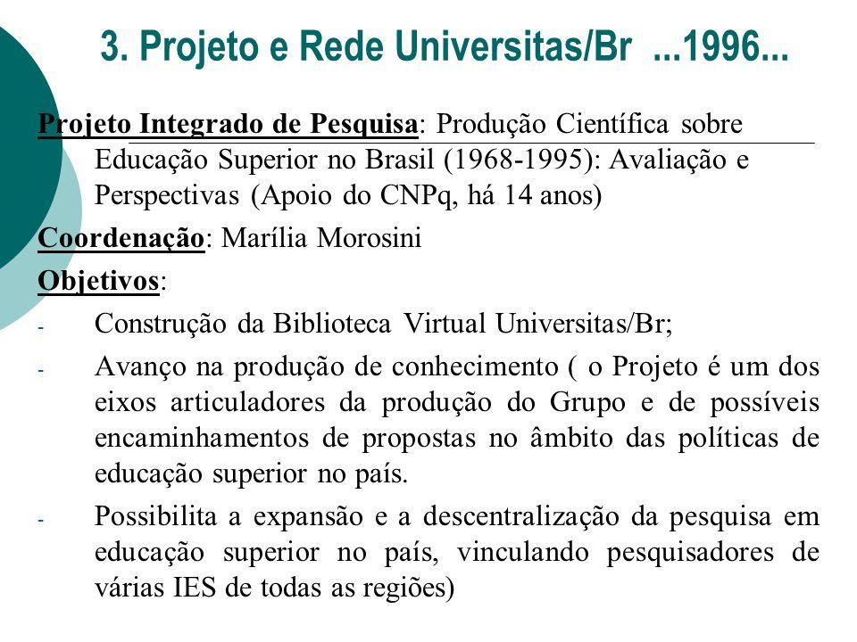 3. Projeto e Rede Universitas/Br...1996... Projeto Integrado de Pesquisa: Produção Científica sobre Educação Superior no Brasil (1968-1995): Avaliação