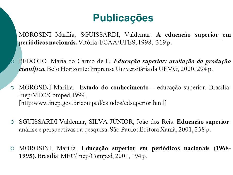Publicações MOROSINI Marília; SGUISSARDI, Valdemar. A educação superior em periódicos nacionais. Vitória: FCAA/UFES, 1998, 319 p. PEIXOTO, Maria do Ca