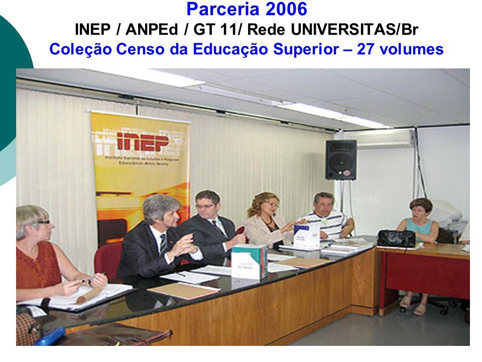 Parceria 2006 INEP / ANPEd / GT 11/ Rede UNIVERSITAS/Br Coleção Censo da Educação Superior – 27 volumes