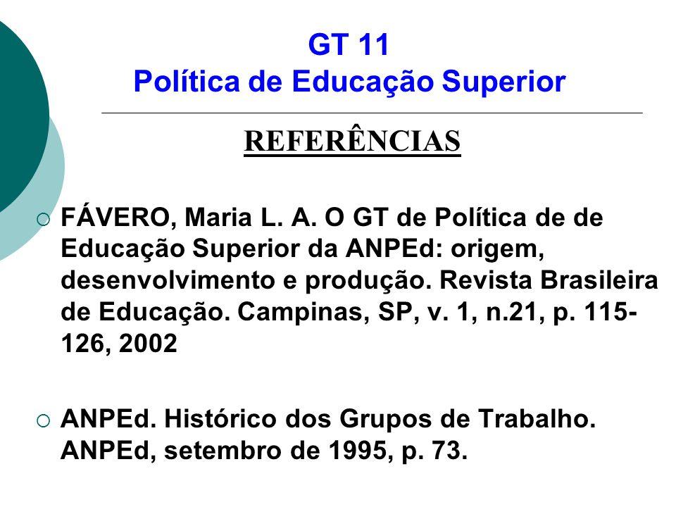 GT 11 Política de Educação Superior REFERÊNCIAS FÁVERO, Maria L. A. O GT de Política de de Educação Superior da ANPEd: origem, desenvolvimento e produ