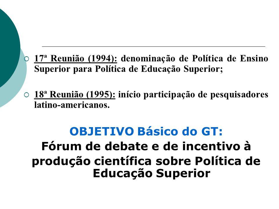 17ª Reunião (1994): denominação de Política de Ensino Superior para Política de Educação Superior; 18ª Reunião (1995): início participação de pesquisadores latino-americanos.