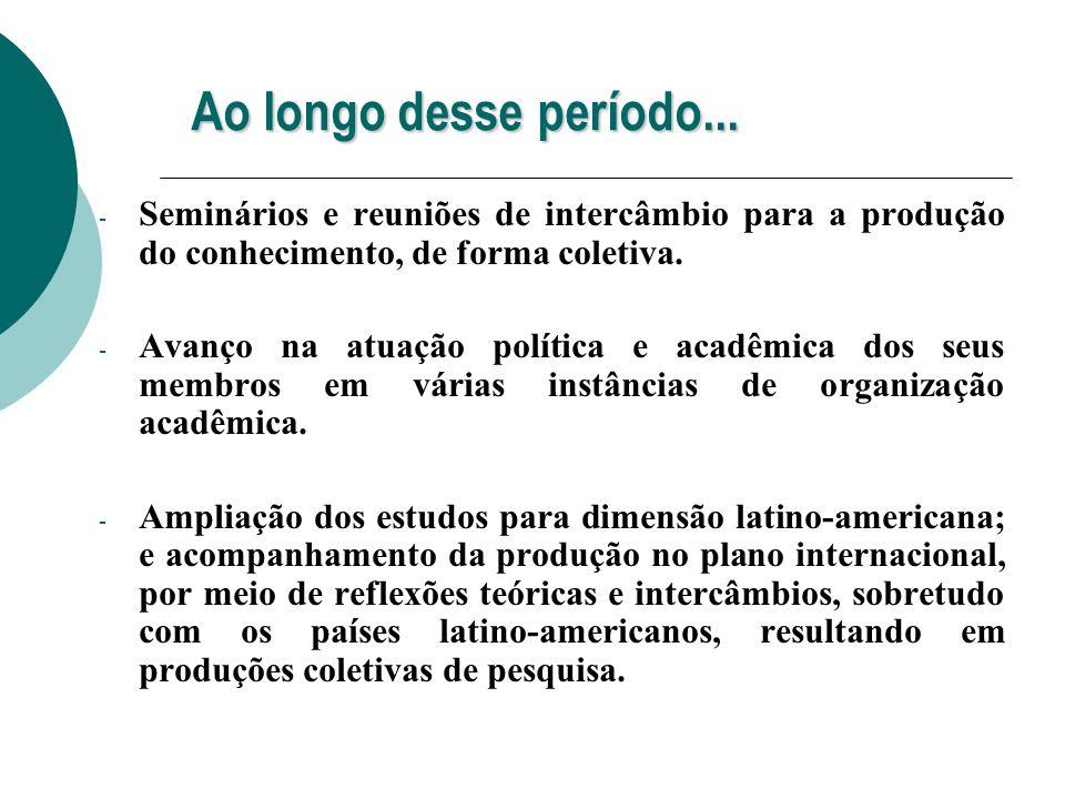 Ao longo desse período... - Seminários e reuniões de intercâmbio para a produção do conhecimento, de forma coletiva. - Avanço na atuação política e ac