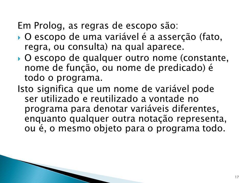 Em Prolog, as regras de escopo são: O escopo de uma variável é a asserção (fato, regra, ou consulta) na qual aparece. O escopo de qualquer outro nome