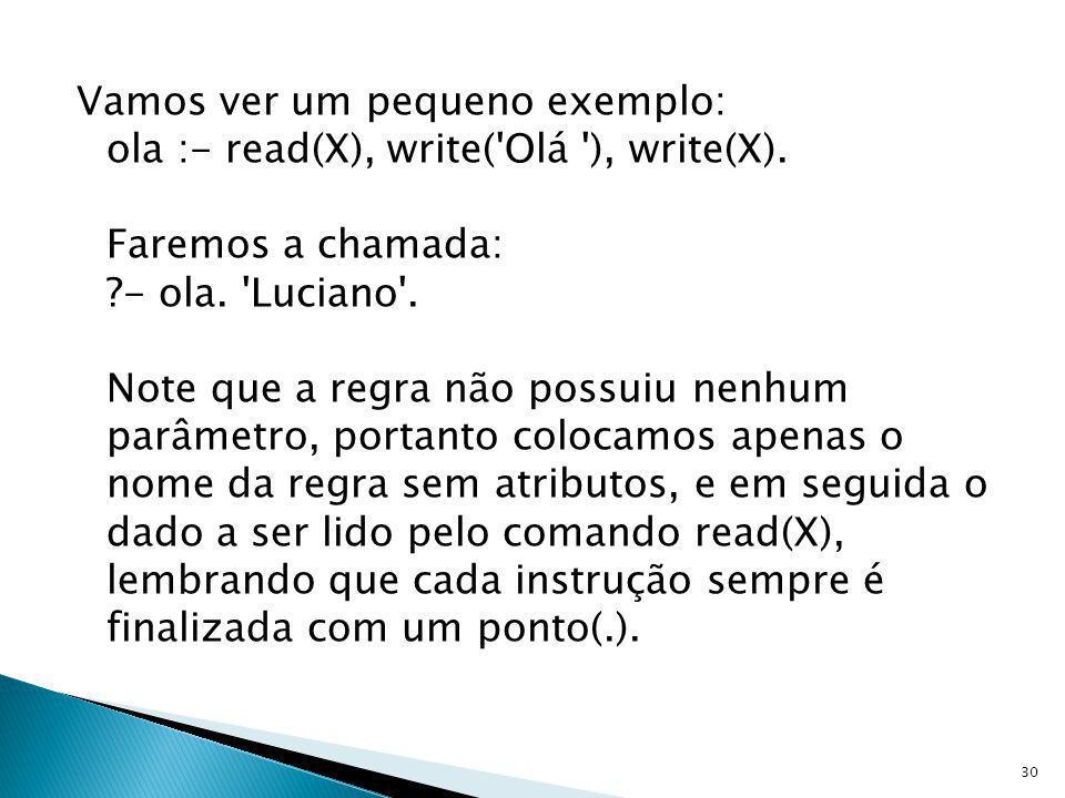 Vamos ver um pequeno exemplo: ola :- read(X), write('Olá '), write(X). Faremos a chamada: ?- ola. 'Luciano'. Note que a regra não possuiu nenhum parâm
