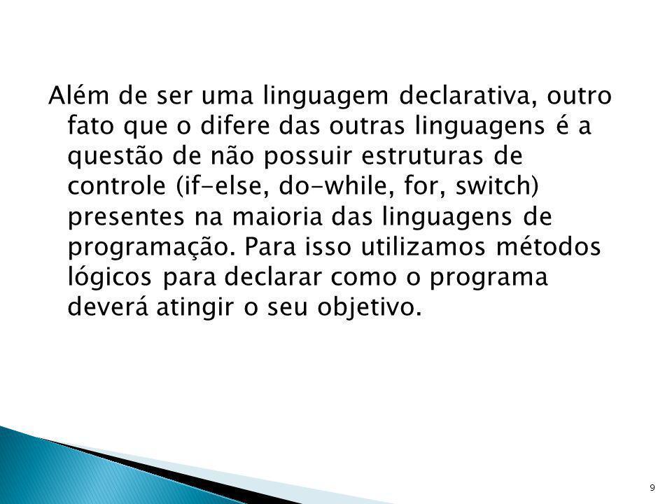 Vamos ver um pequeno exemplo: ola :- read(X), write( Olá ), write(X).