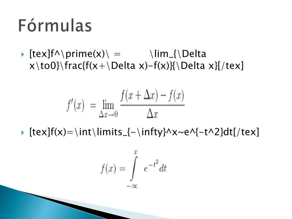 [tex]f^\prime(x)\ = \lim_{\Delta x\to0}\frac{f(x+\Delta x)-f(x)}{\Delta x}[/tex] [tex]f(x)=\int\limits_{-\infty}^x~e^{-t^2}dt[/tex]