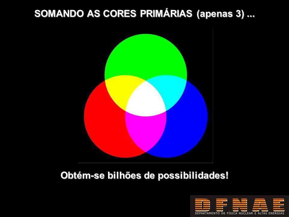 SOMANDO AS CORES PRIMÁRIAS (apenas 3)... Obtém-se bilhões de possibilidades!