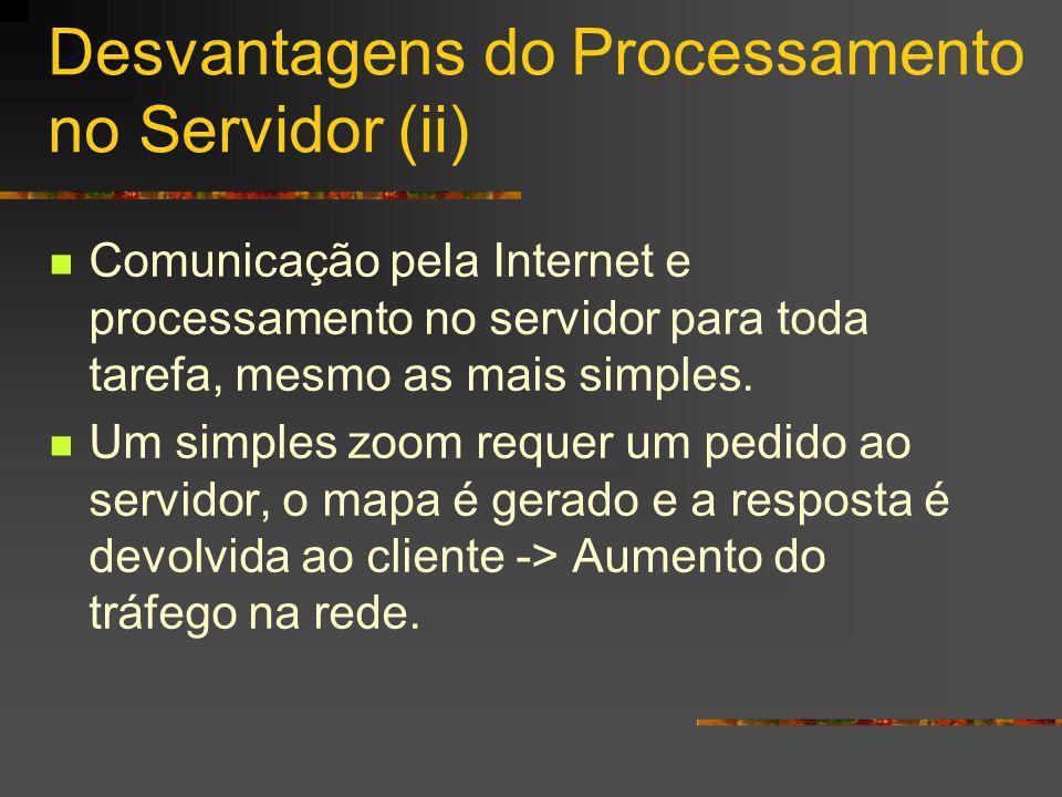 Desvantagens do Processamento no Servidor (ii) Comunicação pela Internet e processamento no servidor para toda tarefa, mesmo as mais simples. Um simpl