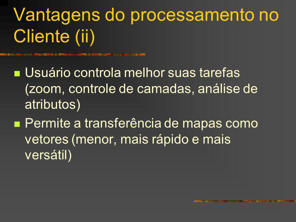 Vantagens do processamento no Cliente (ii) Usuário controla melhor suas tarefas (zoom, controle de camadas, análise de atributos) Permite a transferência de mapas como vetores (menor, mais rápido e mais versátil)