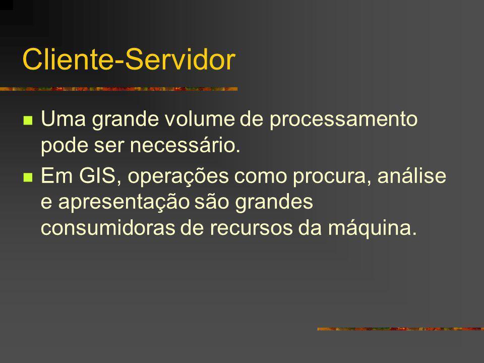 Cliente-Servidor Uma grande volume de processamento pode ser necessário. Em GIS, operações como procura, análise e apresentação são grandes consumidor
