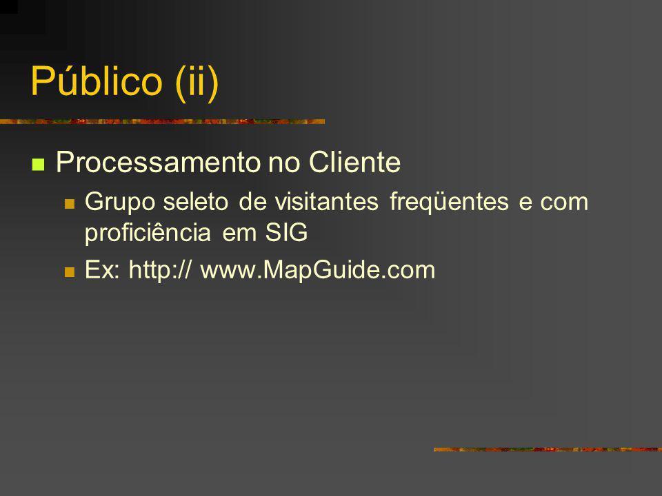 Público (ii) Processamento no Cliente Grupo seleto de visitantes freqüentes e com proficiência em SIG Ex: http:// www.MapGuide.com