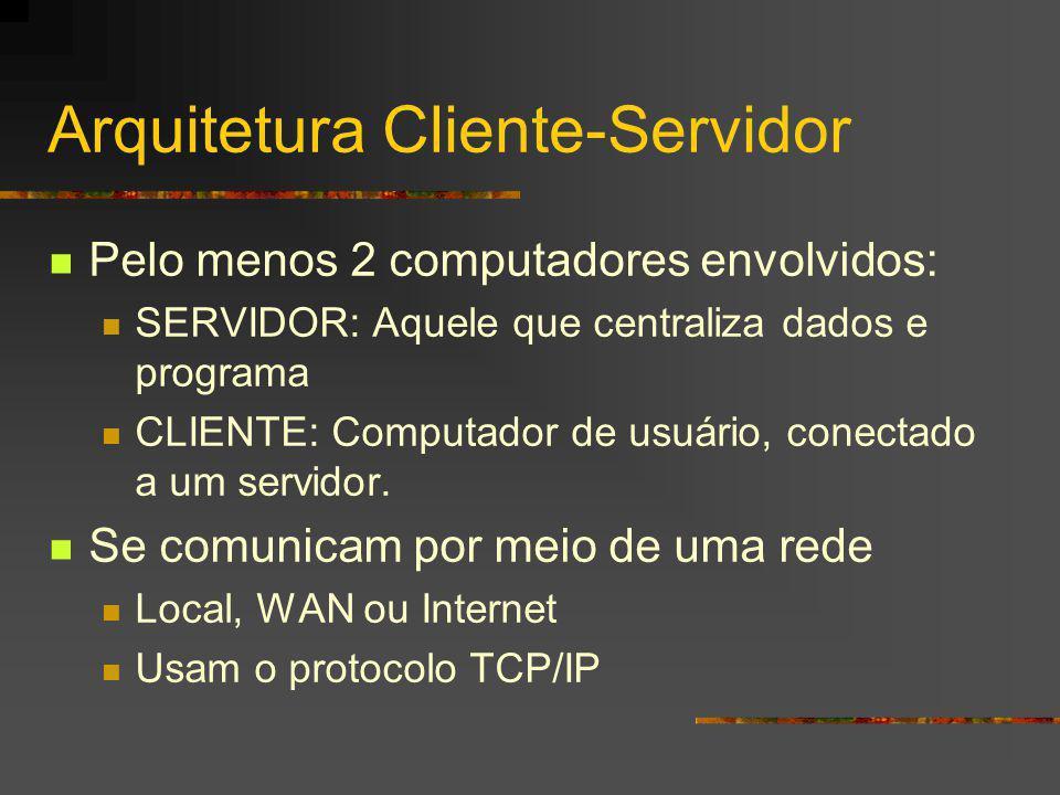 Arquitetura Cliente-Servidor Pelo menos 2 computadores envolvidos: SERVIDOR: Aquele que centraliza dados e programa CLIENTE: Computador de usuário, conectado a um servidor.