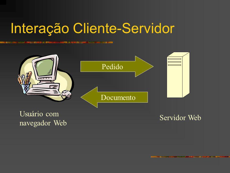 Interação Cliente-Servidor Usuário com navegador Web Servidor Web Pedido Documento