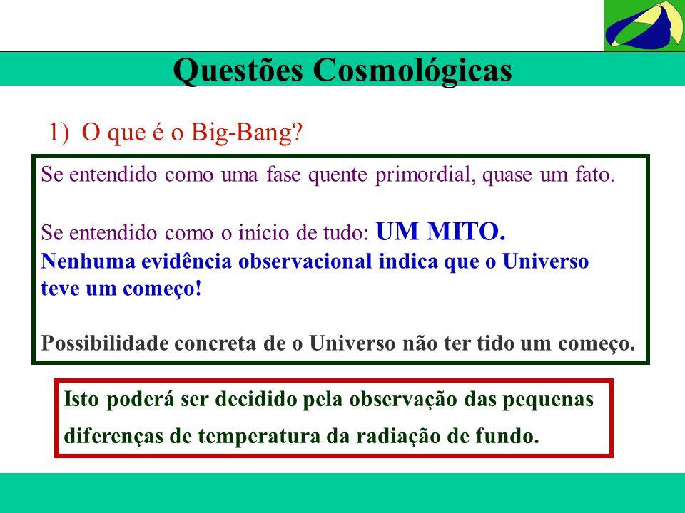 Questões Cosmológicas Isto poderá ser decidido pela observação das pequenas diferenças de temperatura da radiação de fundo. 1)O que é o Big-Bang? Se e