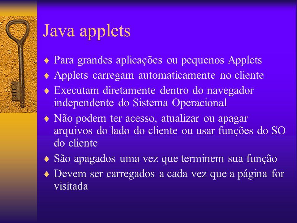 Java applets Para grandes aplicações ou pequenos Applets Applets carregam automaticamente no cliente Executam diretamente dentro do navegador independ