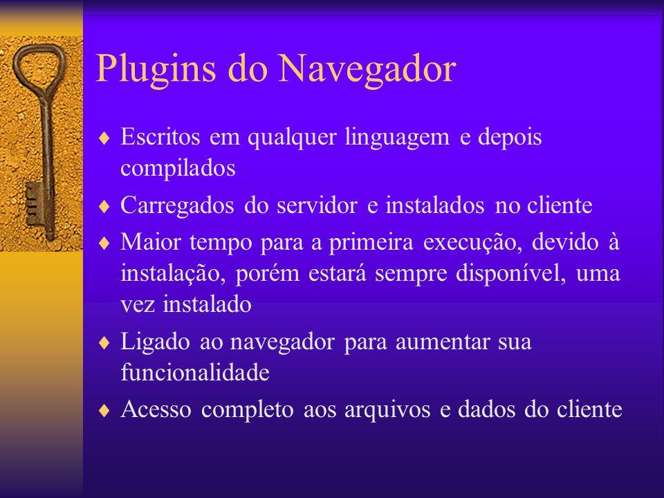 Plugins do Navegador Escritos em qualquer linguagem e depois compilados Carregados do servidor e instalados no cliente Maior tempo para a primeira exe