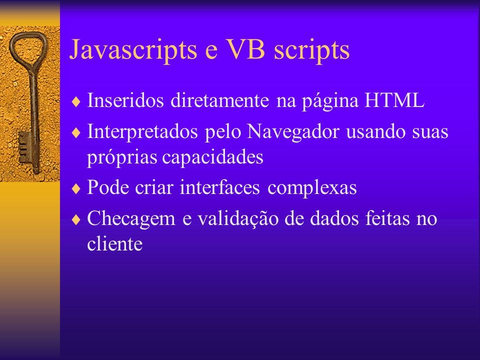 Javascripts e VB scripts Inseridos diretamente na página HTML Interpretados pelo Navegador usando suas próprias capacidades Pode criar interfaces comp