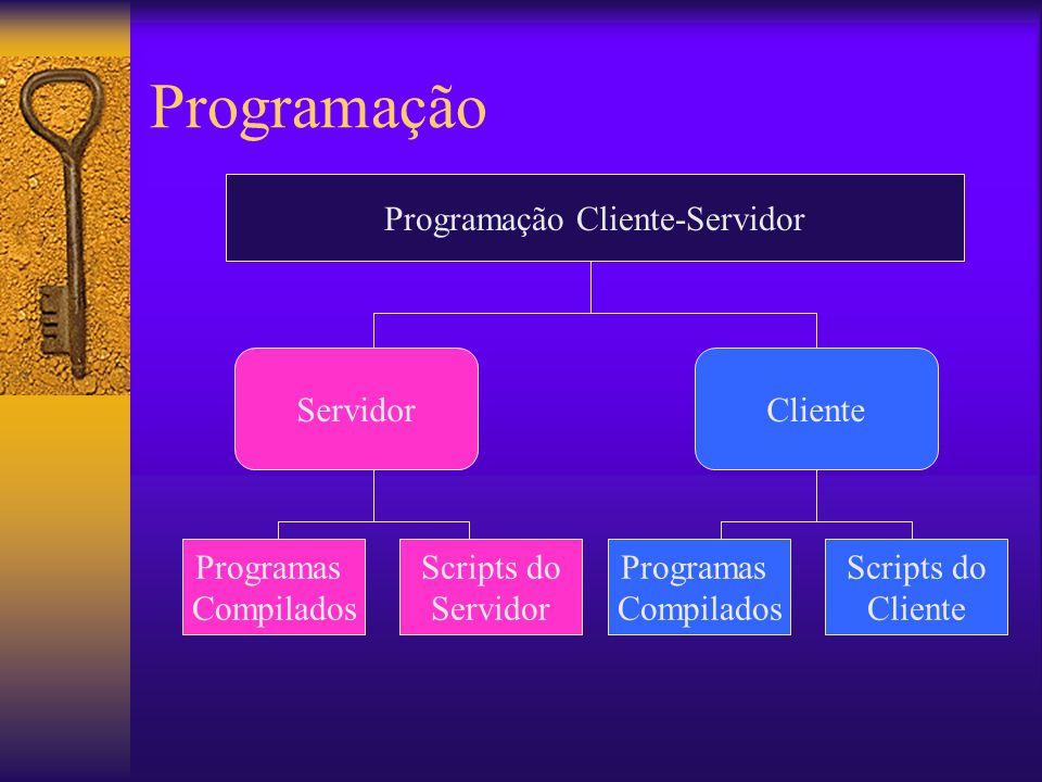 Javascripts e VB scripts Inseridos diretamente na página HTML Interpretados pelo Navegador usando suas próprias capacidades Pode criar interfaces complexas Checagem e validação de dados feitas no cliente