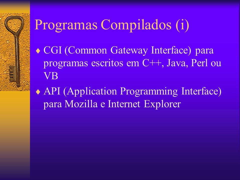 Programas Compilados (ii) Processa entradas de formulários preenchidos e submetidos pelo Cliente Uma instância de CGI criada para cada pedido (pode esgotar recursos do servidor rapidamente) API do Mozilla ou IE podem atender diversos pedidos com apenas uma instância