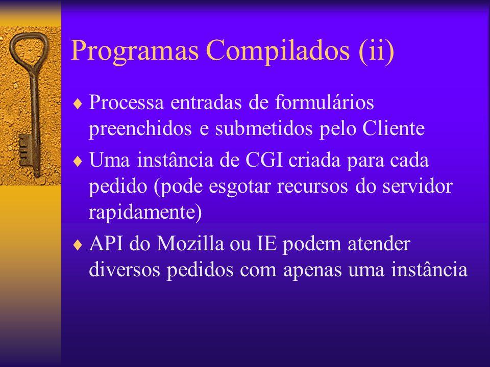 Programas Compilados (ii) Processa entradas de formulários preenchidos e submetidos pelo Cliente Uma instância de CGI criada para cada pedido (pode es