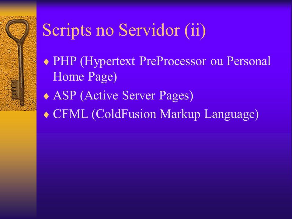 Programação no Cliente Programas carregados sob demanda e executados no cliente –Applets Java –Plugins Javascripts (IE e NS) VB (IE)