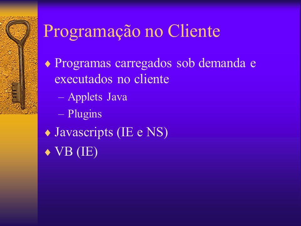 Exemplo com Processamento no Cliente Cliente Potente Navegador Web (com script) Servidor Leve Servidor Web Dados SIG Pedido em URL Dados de SIG Internet Plugin Carrega e Instala Applets