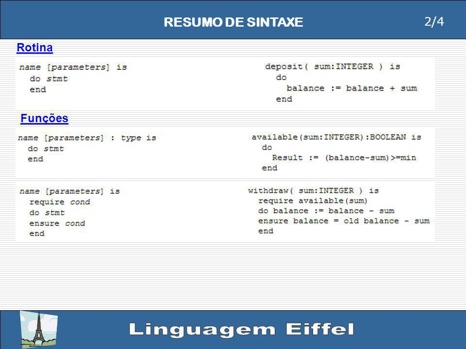 RESUMO DE SINTAXE Rotina Funções 2/4