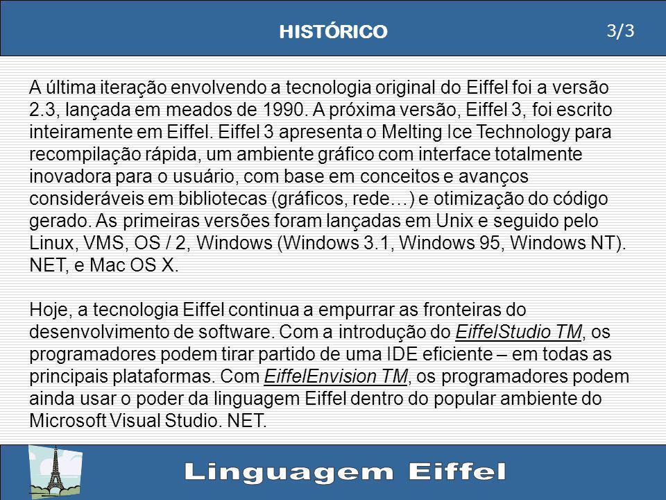 HISTÓRICO A última iteração envolvendo a tecnologia original do Eiffel foi a versão 2.3, lançada em meados de 1990.