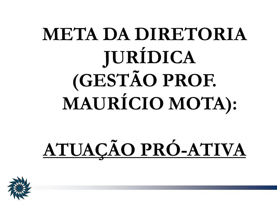 META DA DIRETORIA JURÍDICA (GESTÃO PROF. MAURÍCIO MOTA): ATUAÇÃO PRÓ-ATIVA
