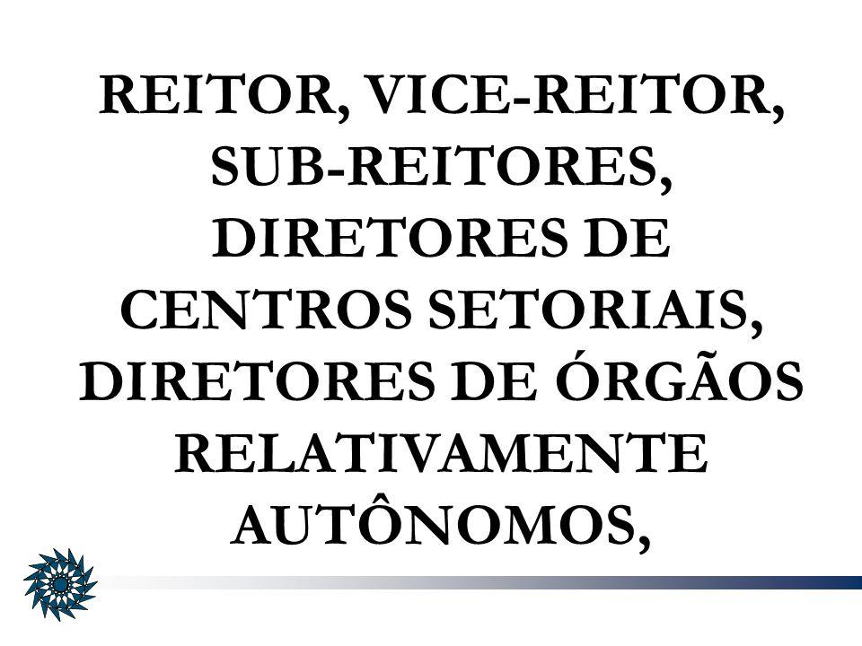REITOR, VICE-REITOR, SUB-REITORES, DIRETORES DE CENTROS SETORIAIS, DIRETORES DE ÓRGÃOS RELATIVAMENTE AUTÔNOMOS,