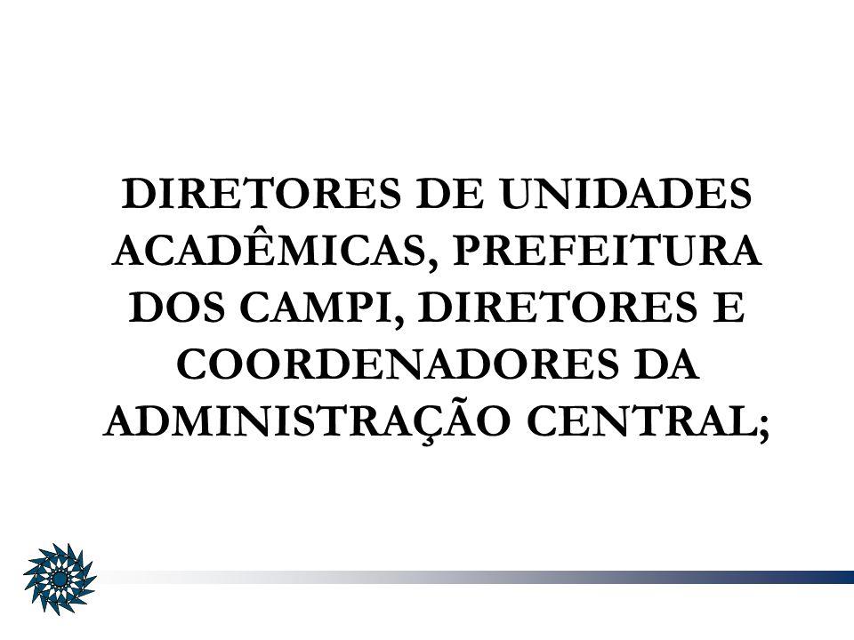 DIRETORES DE UNIDADES ACADÊMICAS, PREFEITURA DOS CAMPI, DIRETORES E COORDENADORES DA ADMINISTRAÇÃO CENTRAL;