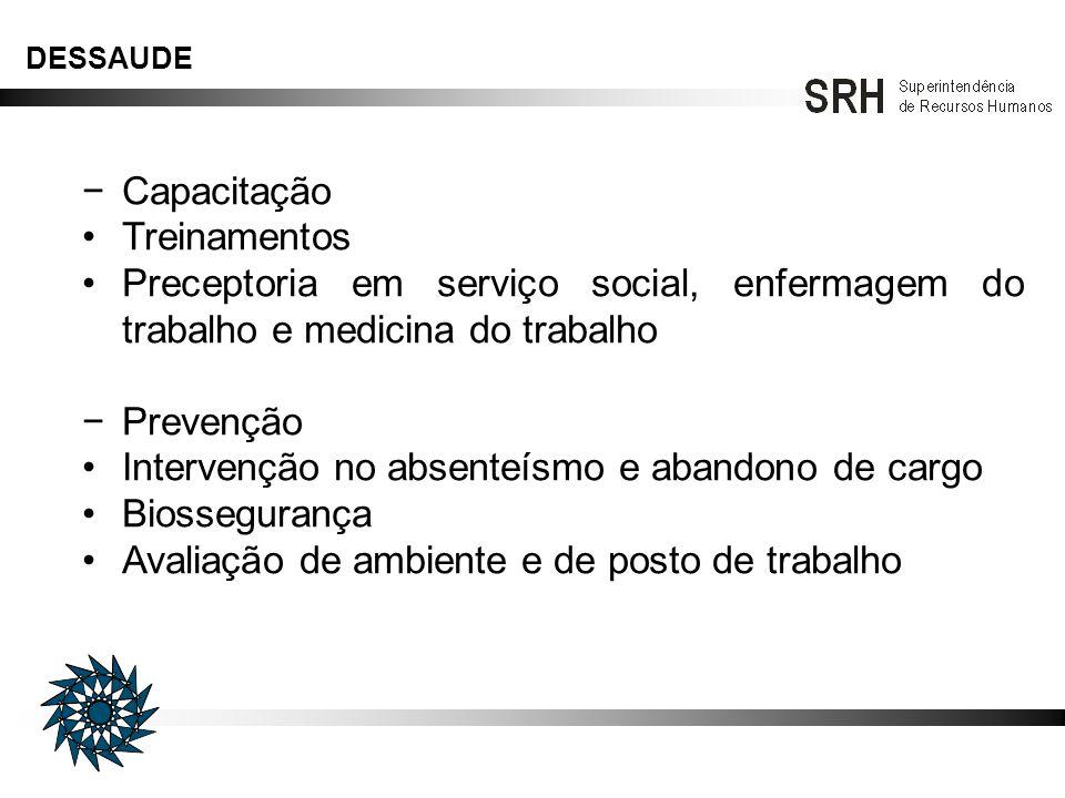 DESSAUDE Capacitação Treinamentos Preceptoria em serviço social, enfermagem do trabalho e medicina do trabalho Prevenção Intervenção no absenteísmo e