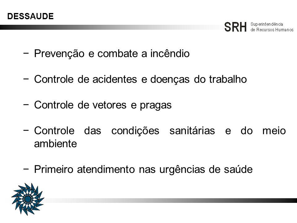 Prevenção e combate a incêndio Controle de acidentes e doenças do trabalho Controle de vetores e pragas Controle das condições sanitárias e do meio am