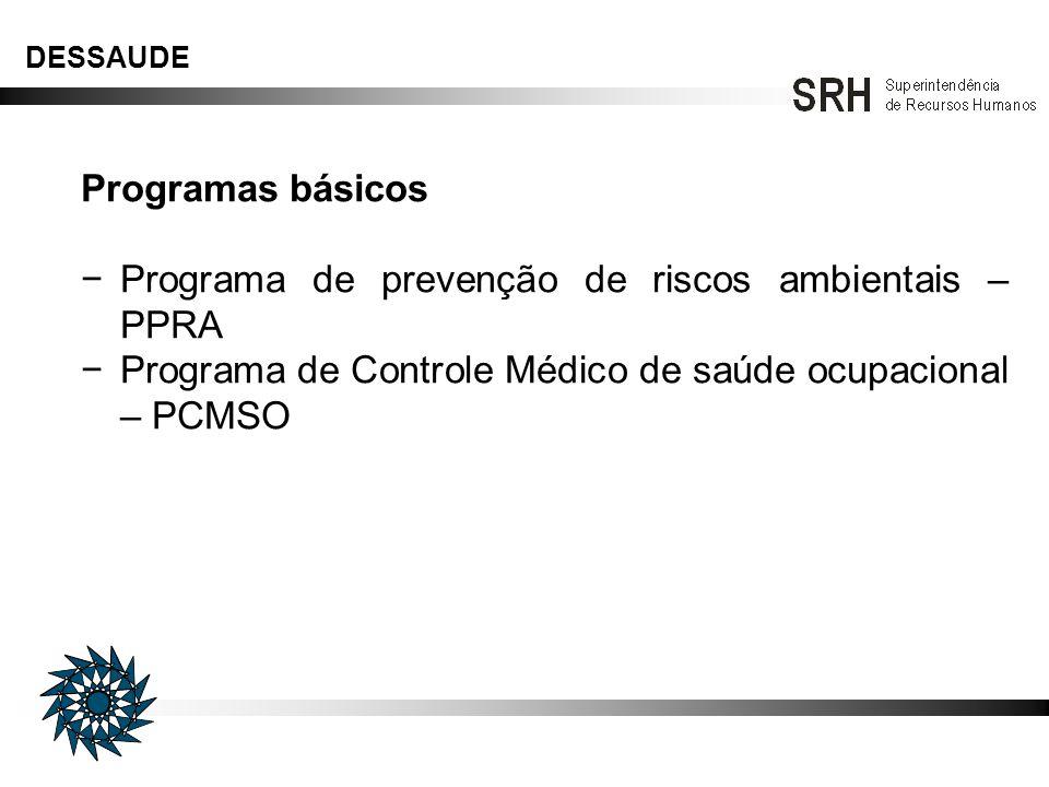 DESSAUDE Programas Específicos Promoção de saúde Imunizações Controle de hipertensão arterial Ginástica laboral Apoio à cessação do tabagismo