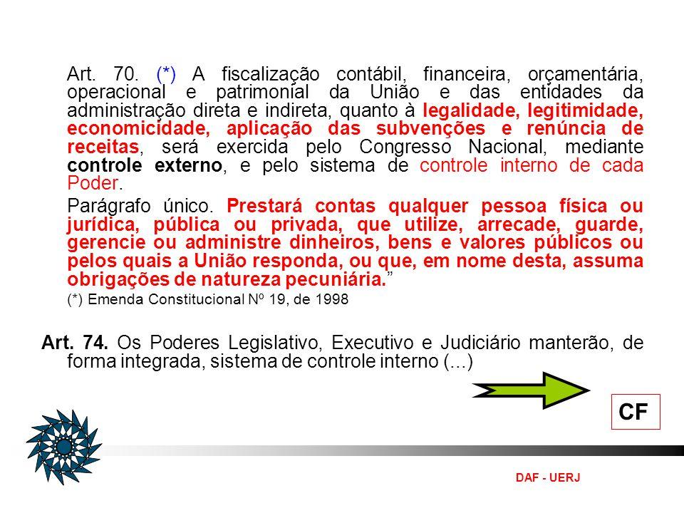 DAF - UERJ CF Art. 70. (*) A fiscalização contábil, financeira, orçamentária, operacional e patrimonial da União e das entidades da administração dire