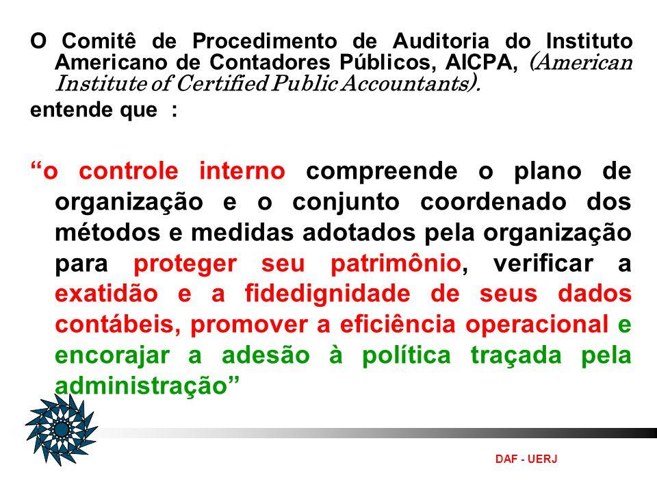 DAF - UERJ O Comitê de Procedimento de Auditoria do Instituto Americano de Contadores Públicos, AICPA, (American Institute of Certified Public Account