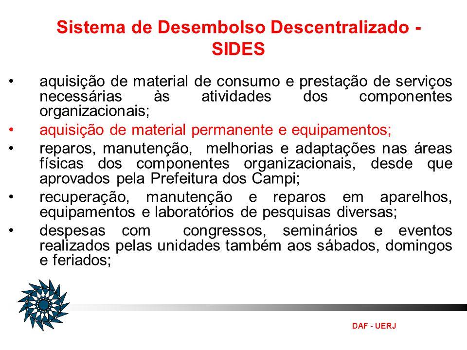Sistema de Desembolso Descentralizado - SIDES aquisição de material de consumo e prestação de serviços necessárias às atividades dos componentes organ