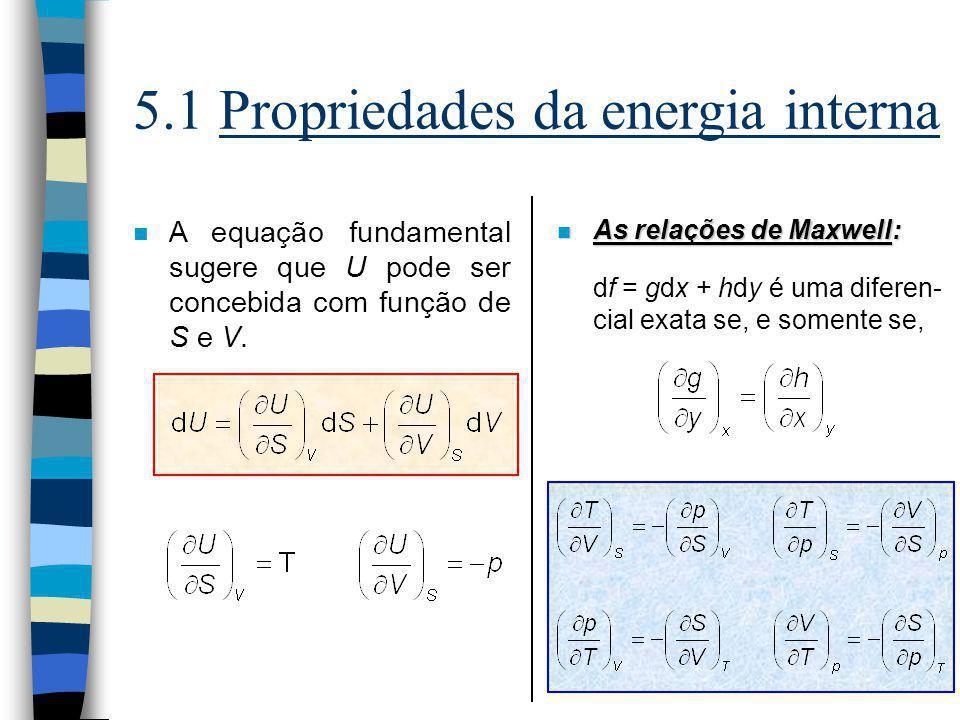 5.1 Propriedades da energia interna n A equação fundamental sugere que U pode ser concebida com função de S e V. n As relações de Maxwell: df = gdx +