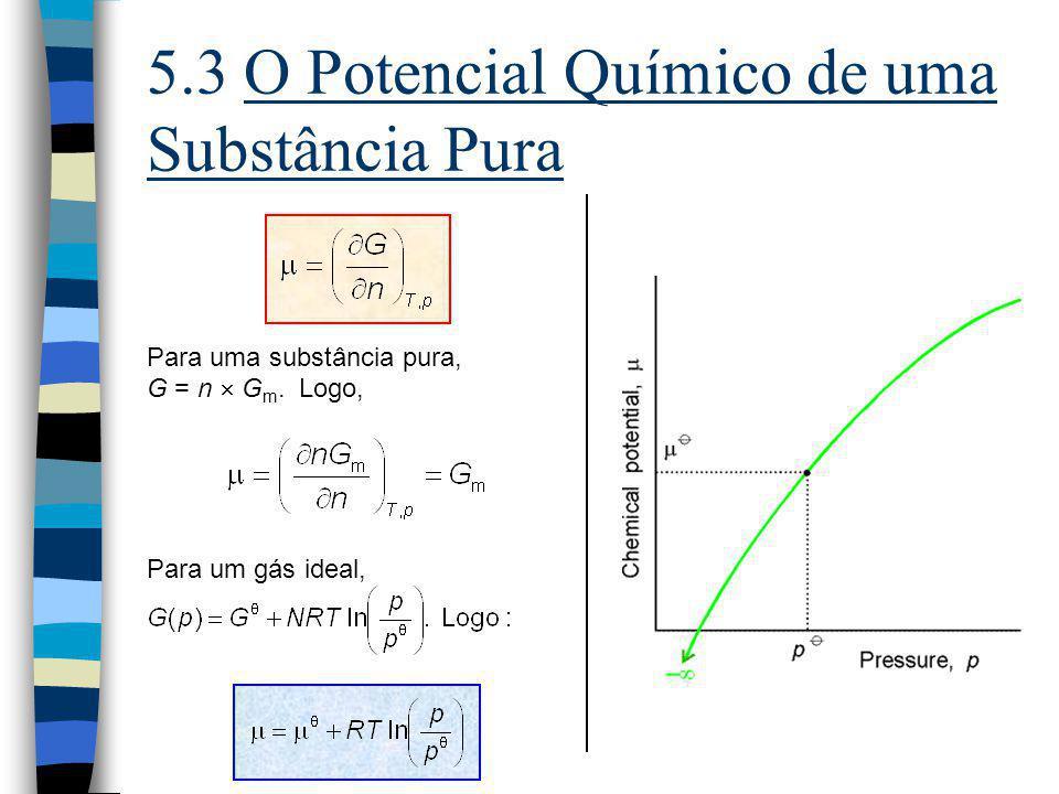 5.3 O Potencial Químico de uma Substância Pura Para uma substância pura, G = n G m. Logo, Para um gás ideal,