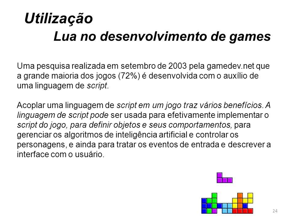 Utilização Lua no desenvolvimento de games Uma pesquisa realizada em setembro de 2003 pela gamedev.net que a grande maioria dos jogos (72%) é desenvolvida com o auxílio de uma linguagem de script.