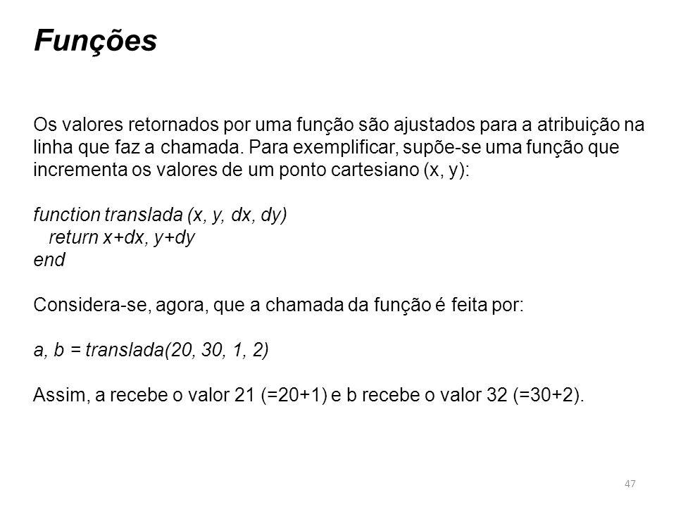 47 Funções Os valores retornados por uma função são ajustados para a atribuição na linha que faz a chamada. Para exemplificar, supõe-se uma função que