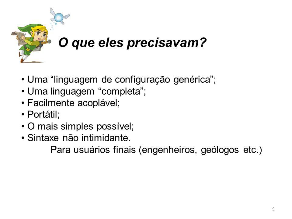 Uma linguagem de configuração genérica; Uma linguagem completa; Facilmente acoplável; Portátil; O mais simples possível; Sintaxe não intimidante. Para