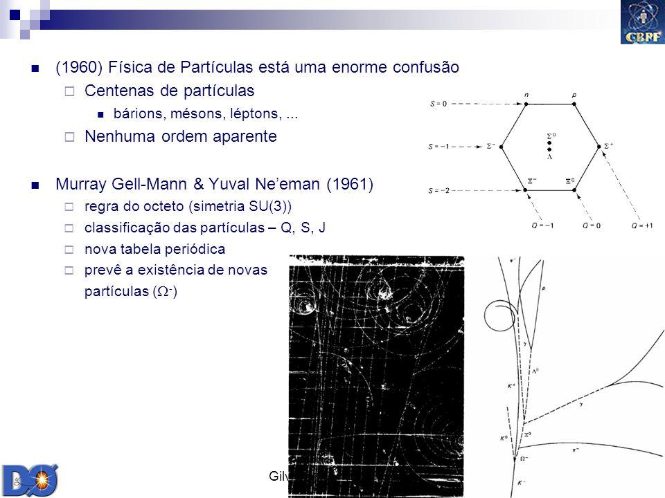 Gilvan A. Alves 2009 10 (1960) Física de Partículas está uma enorme confusão Centenas de partículas bárions, mésons, léptons,... Nenhuma ordem aparent