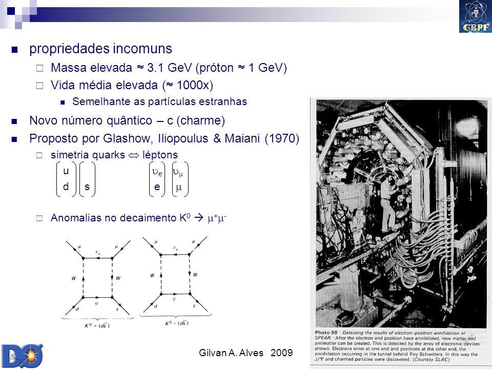 Gilvan A. Alves 2009 15 propriedades incomuns Massa elevada 3.1 GeV (próton 1 GeV) Vida média elevada ( 1000x) Semelhante as partículas estranhas Novo