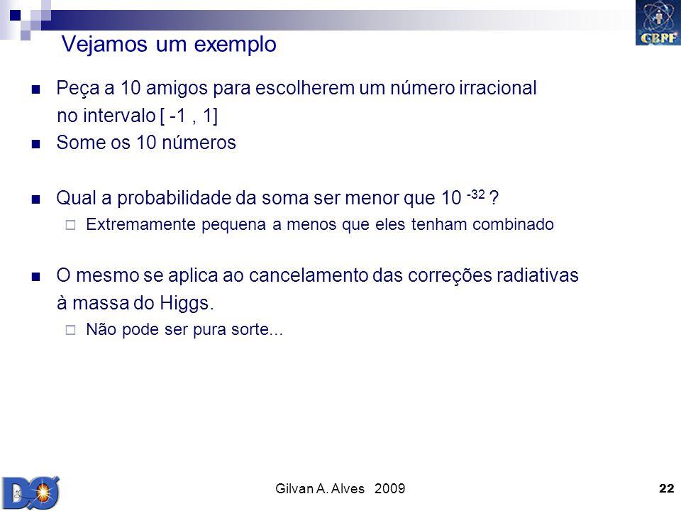 Gilvan A. Alves 2009 22 Vejamos um exemplo Peça a 10 amigos para escolherem um número irracional no intervalo [ -1, 1] Some os 10 números Qual a proba