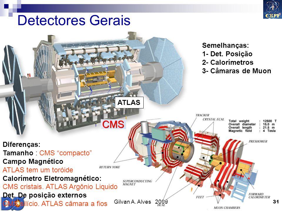 Gilvan A. Alves 2009 31 Detectores Gerais ATLAS Semelhanças: 1- Det. Posição 2- Calorímetros 3- Câmaras de Muon Diferenças: Tamanho : CMS compacto Cam