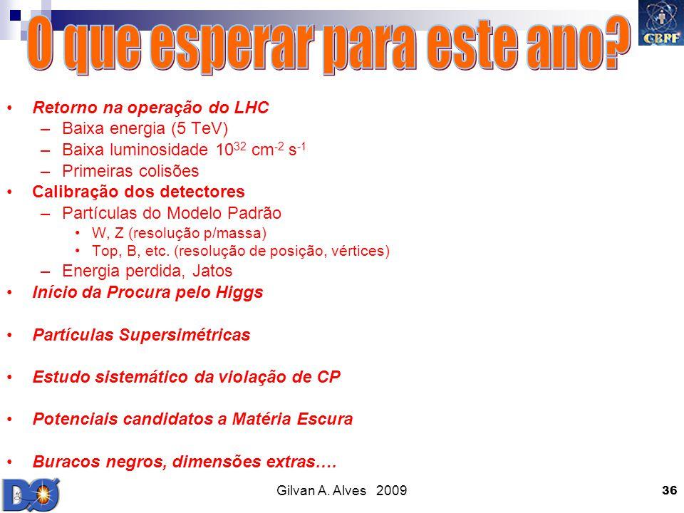 Gilvan A. Alves 2009 36 Retorno na operação do LHC –Baixa energia (5 TeV) –Baixa luminosidade 10 32 cm -2 s -1 –Primeiras colisões Calibração dos dete
