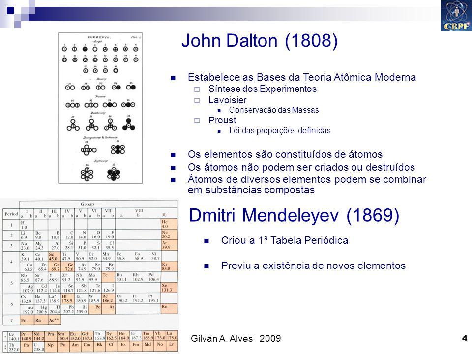 Gilvan A. Alves 2009 4 John Dalton (1808) Estabelece as Bases da Teoria Atômica Moderna Síntese dos Experimentos Lavoisier Conservação das Massas Prou